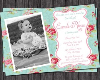 Floral Chic Birthday Invitation