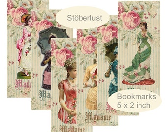 6 bookmarks Ladies and vogue, victorian on vintage background each 2 x 5 inch digital download