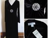 90s Velvet Dress, Black Dress, Coldwater Creek, New Old Stock, Goth, Gothic, Size 10, Stretch Velvet, 1990s, Womens Vintage Clothing