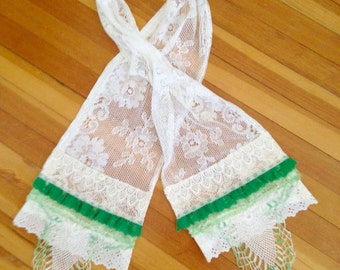 Romantic Shabby Chic Lace Scarf - Handmade with Layers of Vintage Lace Scarf - Vintage Boho Reconstructed Doilies and Lace - One of a Kind