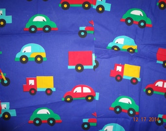 Lot of 14 Pieces of Bright Colorful Print Fabric - Cars & Trucks Fabric Remnants - Appliques