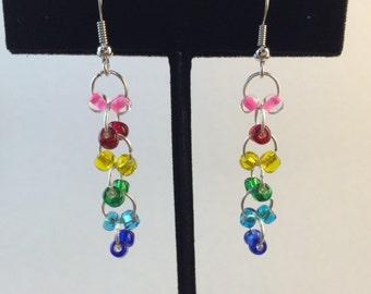 Handmade Rainbow Bead Earrings, Silver Ear Wire, Pink, Red, Yellow, Green, Blue Beads, Rainbow Dangle Drop Earrings, Multi Bead Silver Hoops