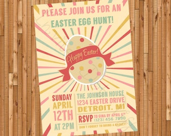 Retro Easter Egg Hunt Invitation (Printable)