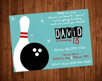 Bowling Printable Birthday Invitation
