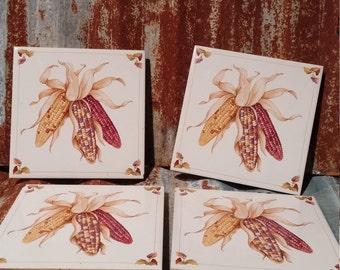 set of 4 Avon Shades of Autumn Corn Tile Trivets