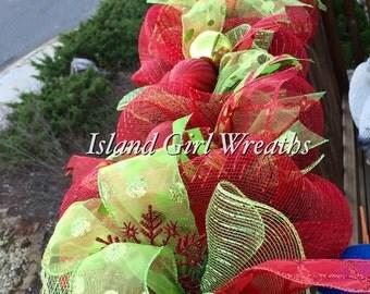 6' Christmas Deco Mesh Garland, Christmas Garland, Lime Green and Red Christmas Graland