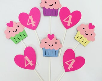 Cupcake themed Cupcake Toppers, set of 12