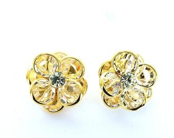 Swarovski vintage channel crystal set clip earrings.  Price is for 1 pair