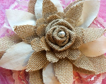 Burlap and Cream Vintage Lace Rosette Flower