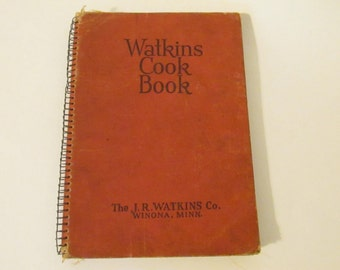 Watkins Cook Book Vintage Spiral Bound Cookbook The J.R. Watkins Co. Winona, Minn.