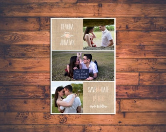 Customizable Rustic Wedding Save-the-Date Magnets - Burlap and Floral