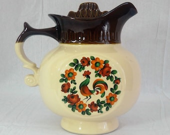 Vintage McCoy 202 Water Pitcher Shaped Cookie Jar w/ Rooster & Flowers