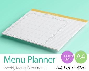 WEEKLY MENU PLANNER Printable pdf. Letter Size. A4. Meals organizer menu organizer. Grocery list. Weekly Meal Planner. Meal Plan Printable.