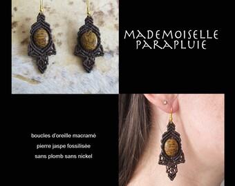 pierre Brown macrame fossilized Jasper earrings earrings