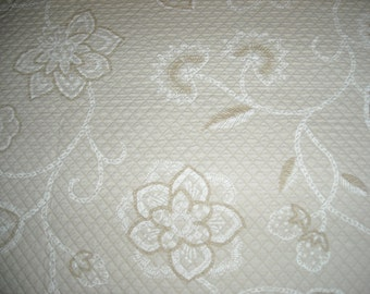 """Tone on Tone Floral Print, quilted 52"""" square tablecloth"""