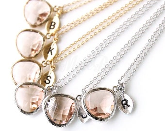 10% OFF, Bridesmaid gifts, Set of 7,8,9,10, Personalized peach necklace, Wedding peach jewelry, Bridal jewelry, Peach initial necklace,