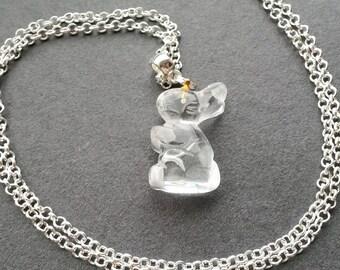Clear Quartz Rabbit Necklace