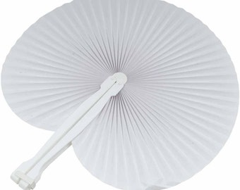 White Plastic Folding Fans 60pz place card holder Wedding Favor Church