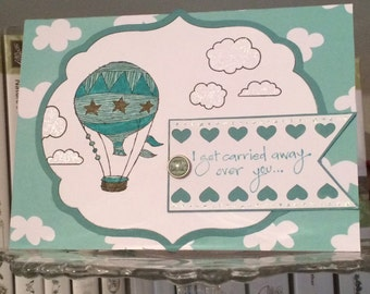 """A2 """"I Get Carried Away..."""" Hot Air Balloon Card in Teal, White, and Brown; Love You Card, Handmade Card, Thinkin of You, Colored Balloons"""