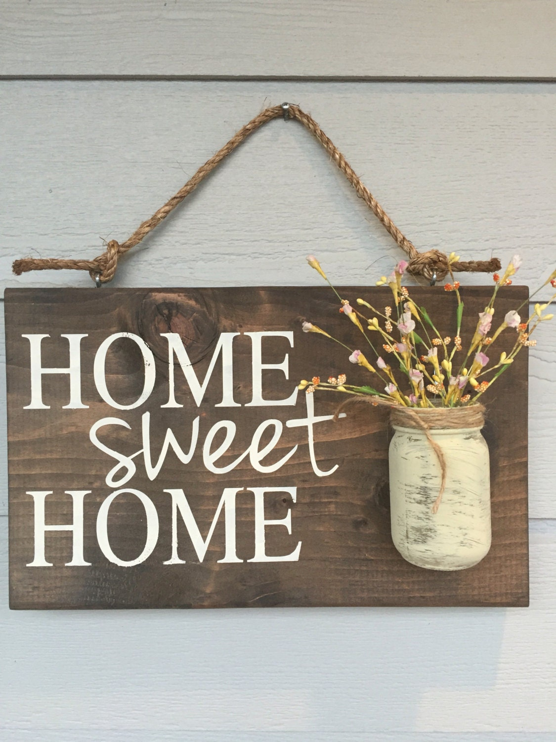 Rustic outdoor home sweet wood signs front by