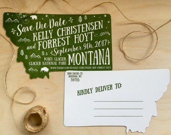 Save the Date Postcard,  State Postcard, Montana Wedding, Custom Letterpress Save the Date
