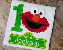Personalized Embroidered Elmo Birthday Shirt  1st Birthday  2nd Birthday 3rd  Birthday Shirt.  Any age - Boy or Girl