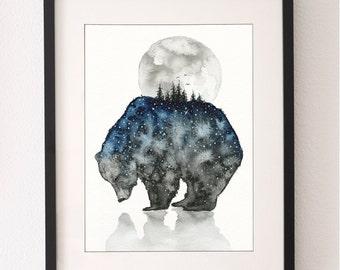 A4 Bear Mountain Art Print, Bear Painting, Bear Print, Moon, Bear Print, Wall Art, Water Colour, Water Color, Nursery Art, Nursery Print
