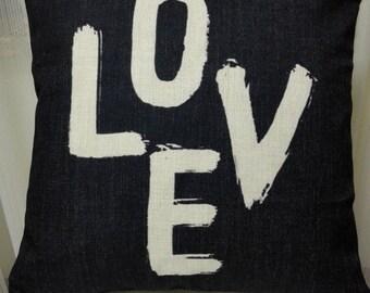 "Decorative pillow cover/Love cushion cover/words pillow throw/pillow sham 18x18"""