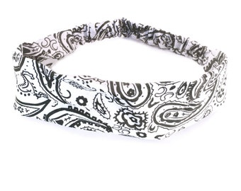 White Bandana Headband Elastic Headband Paisley Hairband Womens Hair Accessories