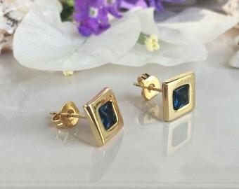 20% off-SALE! September Birthstone Jewelry - Blue Sapphire Earrings - Square Earrings - Shiny Gold Earrings - Post Earrings - Delicate Studs