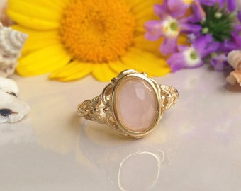 20% off-SALE!! Rose Quartz Ring - October Ring - Gold Ring - Bridal Ring - Vintage Band - Simple Ring - Oval Ring - Lace Ring - Dainty Ring