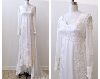 Vintage early 1980's Maurer French Alencon Lace Wedding Dress