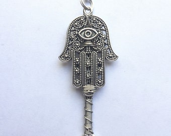 Silver Hamsa Hand Wire Wrapped Spoon Chain Necklace