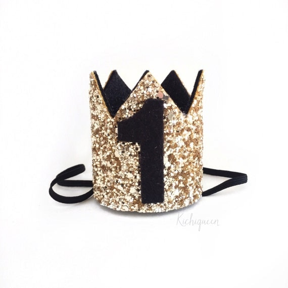 Miniature 1st Birthday Crown Headband Black And Gold By