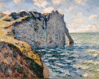 The Cliff Of Aval, Etrétat by Claude Monet, in various sizes, Giclee Canvas Print