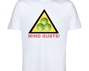 Christmas Tshirt Brussel Sprouts Wind Gusts Funny Novelty Top Stocking Filler Sizes XS to XXXL
