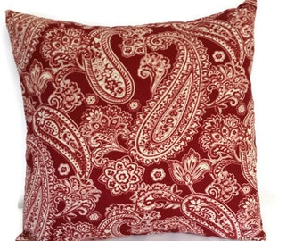 pillow cover,  Decorative throw  pillow, Red paisley  pillow cover, pillow,