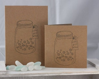 Hand stamped greeting card - a little jar of buttons