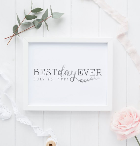 Best Wedding Gift Ever For Bride : Best Day Ever Wedding Date Printable Wedding Gift Silver Foil ...