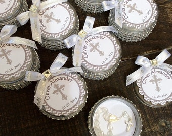 12 baptism favors boxes with mini rosaries- girl Baptism favors- Girl Baptism  - first communion favors- baptism favors- boy baptism favor