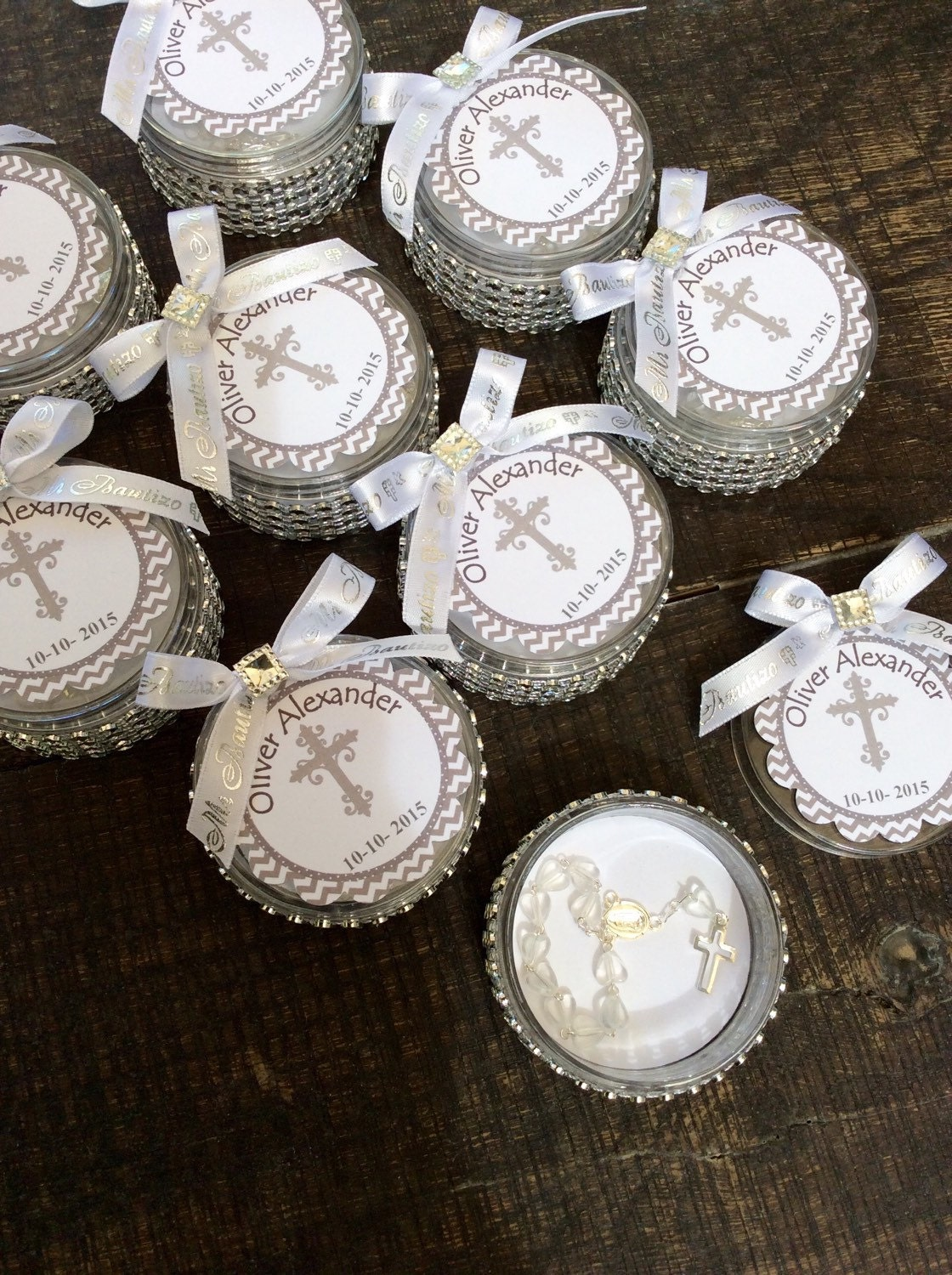 12 Baptism Favors Boxes With Mini Rosaries Girl Baptism