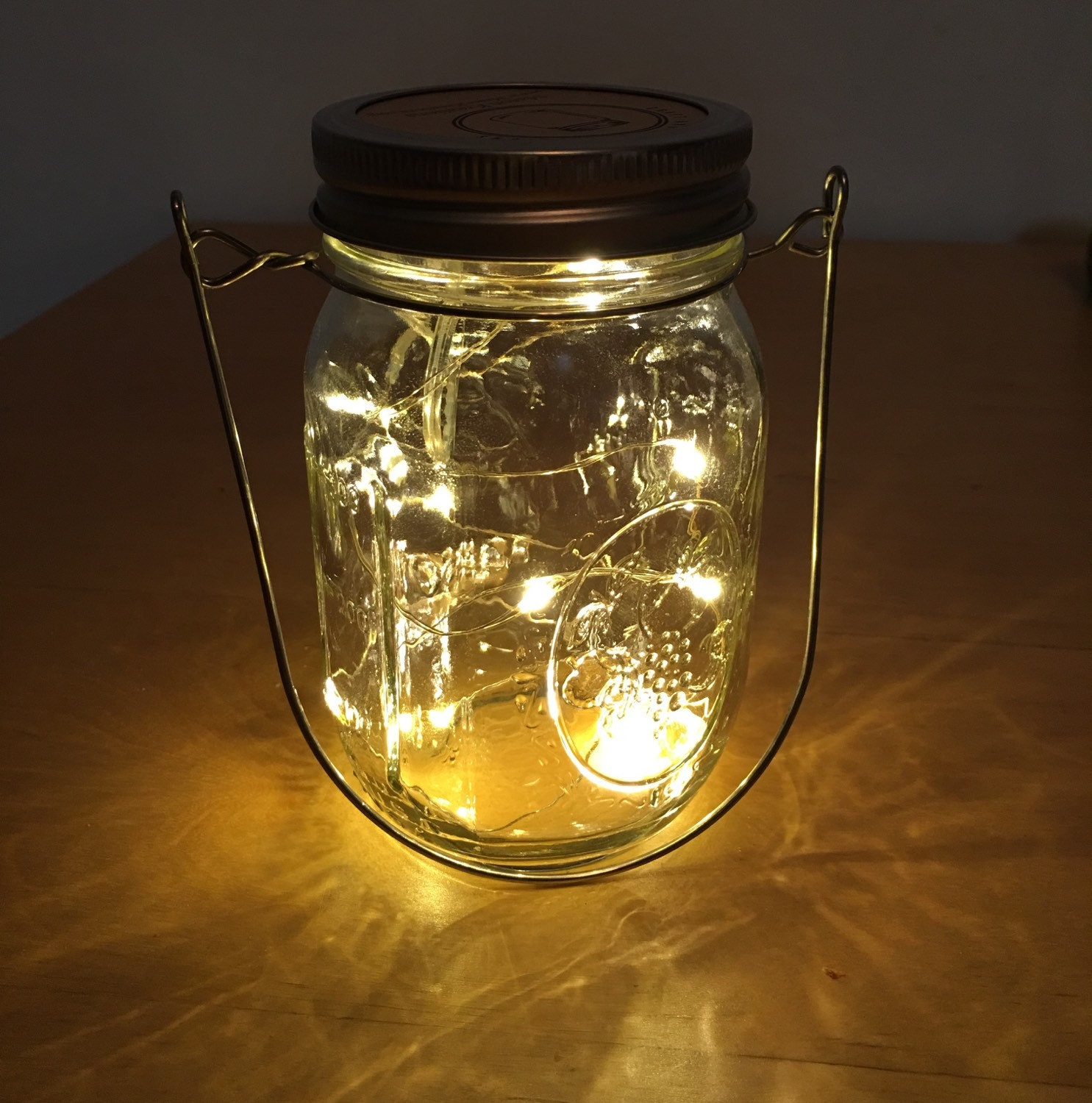 Wire Hanger Firefly Lights With Mason Jar By