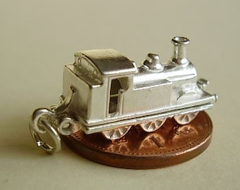 Sterling Silver Opening Steam Train Charm