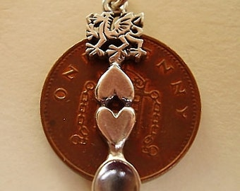Sterling Silver WELSH DRAGON LOVESPOON Charm