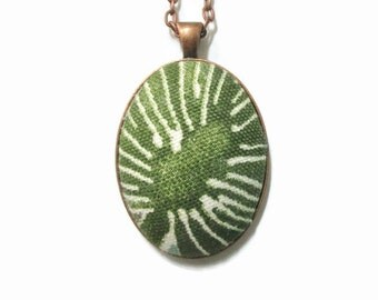 Fabric Necklace, Pendant made from Vintage Feedsack Material, Sage Flower, Recycled Jewelry, Boho, Green, Floral