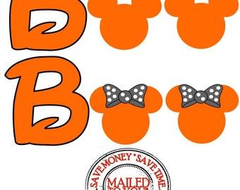 Mickey or Minnie BOO Halloween Iron On Transfer
