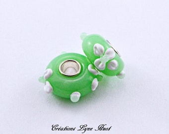 Murano glass beads single core charm Européan style ! Light green color with white flower!