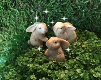 ONE fairy garden bunny, miniature bunny, miniature bunny, miniature rabbit, fairy garden accessories, terrarium bunny