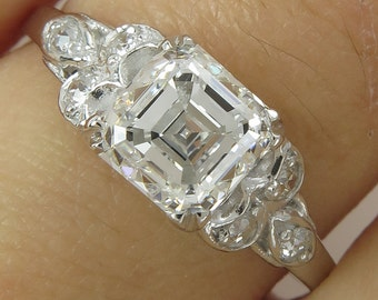 GIA 1.46ct Antique Vintage Art Deco Asscher Diamond Engagement Wedding Platinum Ring