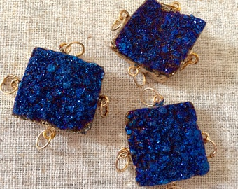 Brilliant Agate Druzy Square with 14kt gold   plate and 4 bails in Midnight